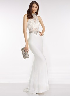 Trumpet/Mermaid High Neck Sweep Train Chiffon Prom Dress With Lace Beading