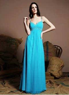 Empire V-neck Floor-Length Chiffon Bridesmaid Dress With Beading
