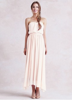Empire Strapless Sweetheart Asymmetrical Chiffon Bridesmaid Dress With Ruffle