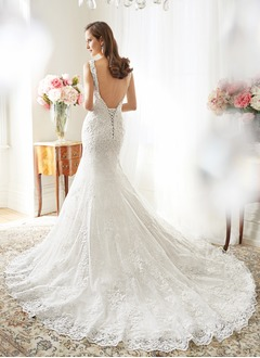 Trumpet/Mermaid Scoop Neck Chapel Train Tulle Lace Wedding Dress With Beading Appliques Lace