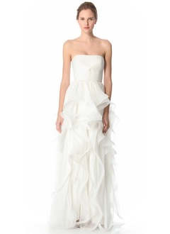 A-Line/Princess Strapless Sweep Train Chiffon Organza Wedding Dress With Ruffle Cascading Ruffles