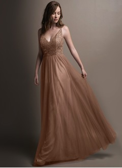 A-Line/Princess V-neck Floor-Length Tulle Bridesmaid Dress With Lace