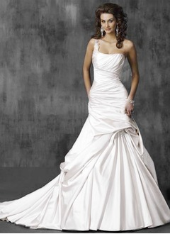 A-Line/Princess One-Shoulder Chapel Train Satin Wedding Dress With Ruffle Beading Appliques Lace