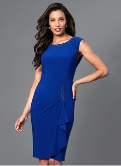 Sheath/Column Scoop Neck Knee-Length Jersey Cocktail Dress With Ruffle Beading Cascading Ruffles