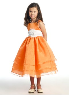 A-Line/Princess Scoop Neck Tea-Length Organza Satin Flower Girl Dress With Ruffle Sash