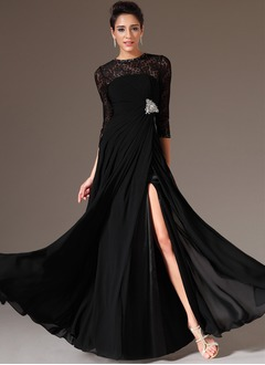 A-Line/Princess Scoop Neck Floor-Length Chiffon Lace Evening Dress With Ruffle Beading Split Front