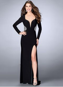 Sheath/Column V-neck Floor-Length Jersey Evening Dress With Beading Split Front