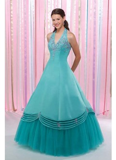 Ball-Gown Halter Floor-Length Satin Tulle Quinceanera Dress With Beading