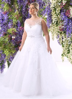 Ball-Gown Scoop Neck Court Train Tulle Wedding Dress With Beading Appliques Lace