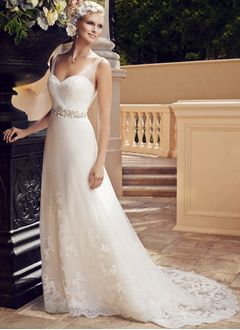 A-Line/Princess V-neck Court Train Satin Tulle Lace Wedding Dress With Beading Appliques Lace
