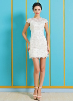 Sheath/Column Scoop Neck Short/Mini Satin Tulle Wedding Dress With Beading Appliques Lace