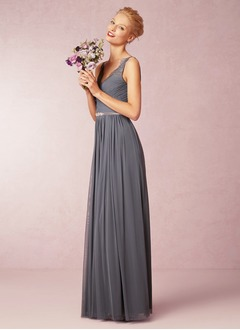 A-Line/Princess V-neck Floor-Length Chiffon Bridesmaid Dress With Ruffle Lace Beading