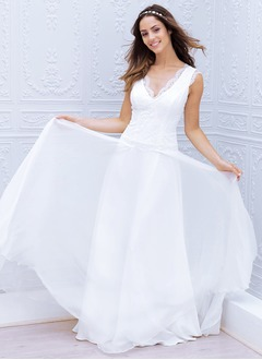 A-Line/Princess V-neck Sweep Train Chiffon Lace Wedding Dress With Appliques Lace