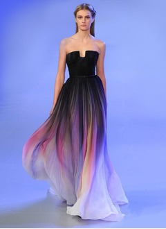 A-Line/Princess Strapless Sweep Train Chiffon Evening Dress With Ruffle