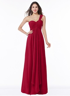 Empire One-Shoulder Floor-Length Chiffon Bridesmaid Dress With Ruffle Cascading Ruffles