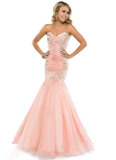 Trumpet/Mermaid Strapless Sweetheart Floor-Length Chiffon Prom Dress With Ruffle Appliques Lace