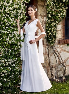 A-Line/Princess V-neck Floor-Length Chiffon Wedding Dress With Ruffle Flower(s) Cascading Ruffles