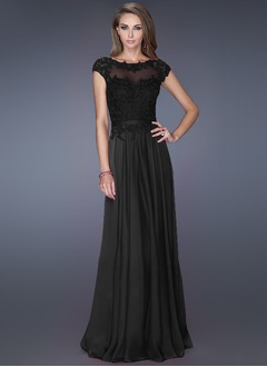 A-Line/Princess Scoop Neck Floor-Length Chiffon Tulle Prom Dress With Appliques Lace