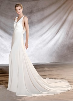 Sheath/Column V-neck Court Train Chiffon Wedding Dress With Ruffle Bow(s)