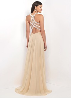A-Line/Princess Scoop Neck Sweep Train Chiffon Prom Dress With Beading (0185095783)