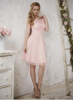 A-Line/Princess Scoop Neck Knee-Length Tulle Bridesmaid Dress With Ruffle