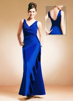 Sheath/Column V-neck Floor-Length Charmeuse Mother of the Bride Dress With Ruffle Beading