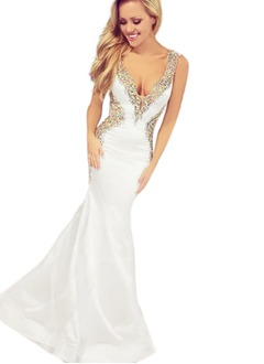 Trumpet/Mermaid V-neck Court Train Satin Evening Dress With Beading