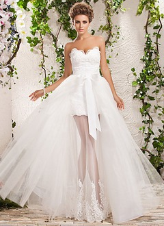 A-Line/Princess Strapless Sweetheart Detachable Satin Tulle Wedding Dress With Lace Bow(s)