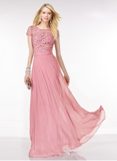 A-Line/Princess Scoop Neck Floor-Length Chiffon Lace Prom Dress