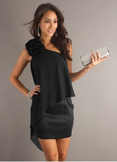Sheath/Column One-Shoulder Short/Mini Chiffon Cocktail Dress  ...
