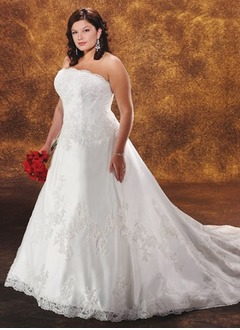 A-Line/Princess Strapless Chapel Train Satin Tulle Wedding Dress With Lace Beading