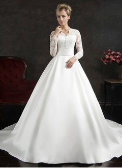 Ball-Gown V-neck Chapel Train Satin Lace Wedding Dress