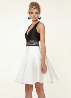 A-Line/Princess V-neck Knee-Length Satin Cocktail Dress With Ruffle Beading