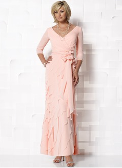 Sheath/Column V-neck Ankle-Length Chiffon Mother of the Bride Dress With Ruffle Flower(s) Cascading Ruffles