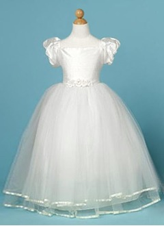A-Line/Princess Scoop Neck Floor-Length Taffeta Tulle Flower Girl Dress