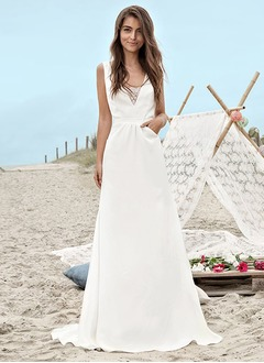 A-Line/Princess V-neck Sweep Train Charmeuse Wedding Dress With Lace