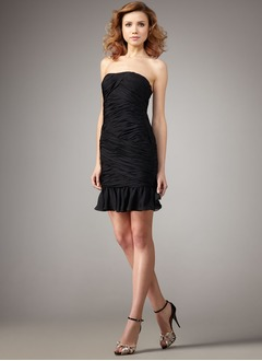 Sheath/Column Strapless Short/Mini Chiffon Cocktail Dress With Ruffle Cascading Ruffles