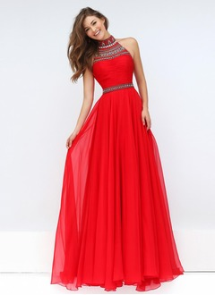 A-Line/Princess High Neck Sweep Train Chiffon Prom Dress With Ruffle Beading