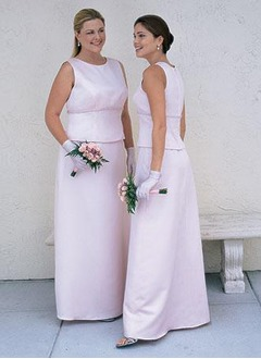 Sheath/Column Scoop Neck Floor-Length Satin Mother of the Bride Dress