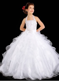 A-Line/Princess Halter Floor-Length Organza Satin Flower Girl Dress With Beading (01005009217)