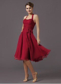 A-Line/Princess Halter Knee-Length Chiffon Bridesmaid Dress  ...