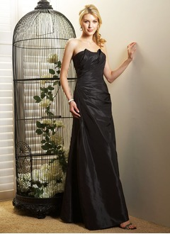 A-Line/Princess Scalloped Neck Floor-Length Taffeta Mother of the Bride Dress With Ruffle