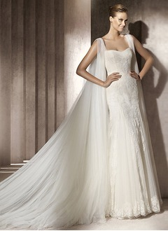 Trumpet/Mermaid Sweetheart Watteau Train Tulle Lace Wedding Dress With Ruffle Appliques Lace