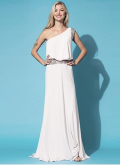 A-Line/Princess One-Shoulder Sweep Train Chiffon Evening Dress With Beading