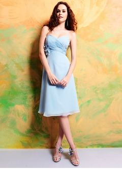 Empire Strapless Sweetheart Knee-Length Chiffon Bridesmaid Dress With Ruffle Flower(s)