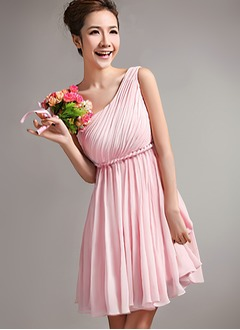A-Line/Princess One-Shoulder Short/Mini Chiffon Prom Dress With Ruffle