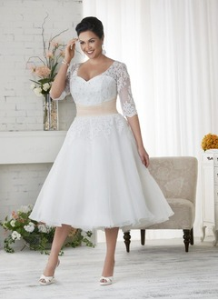 A-Line/Princess V-neck Tea-Length Tulle Lace Wedding Dress With Sash Beading (0025088688)