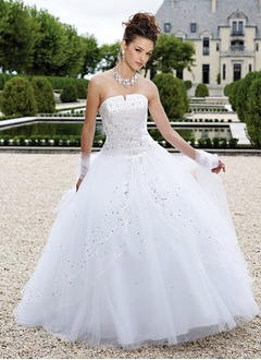 Ball-Gown Strapless Floor-Length Tulle Quinceanera Dress With Beading