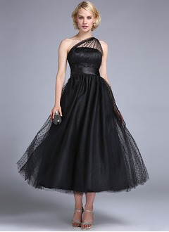A-Line/Princess One-Shoulder Ankle-Length Tulle Prom Dress With Ruffle