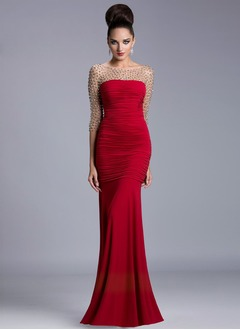 Trumpet/Mermaid Scoop Neck Floor-Length Jersey Evening Dress With Ruffle Beading